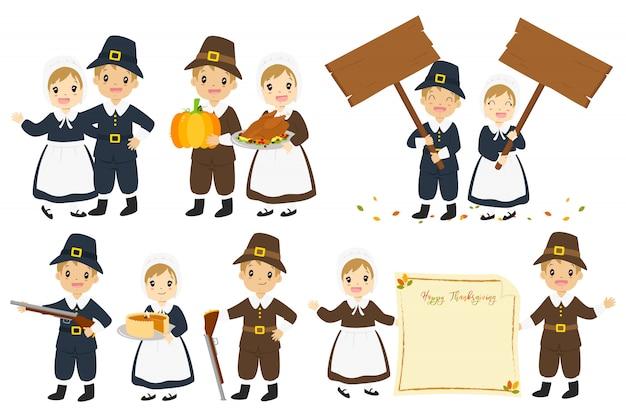 Thanksgiving pilgrims couple carton character vector set.