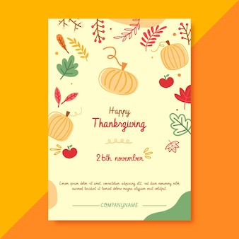 Thanksgiving poster template with pumpkins and leaves