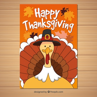 Thanksgiving poster with funny turkey