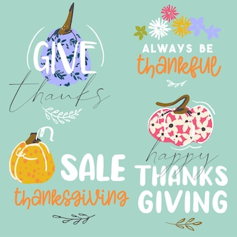 Thanksgiving premade stickers hand drawn art style