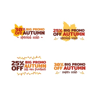 Thanksgiving promotion sale badge sticker with autumn leaf collection