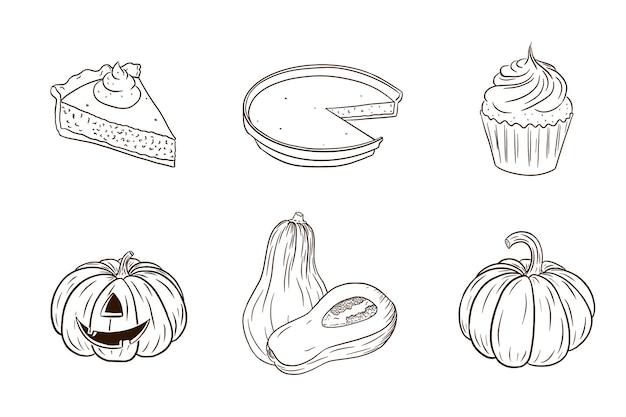 Коллекция блюд из тыквы на день благодарения. осенний праздничный набор продуктов питания. свежие спелые тыквы и тыквенные пироги для украшения наклеек, приглашения, меню и поздравительных открыток. премиум векторы