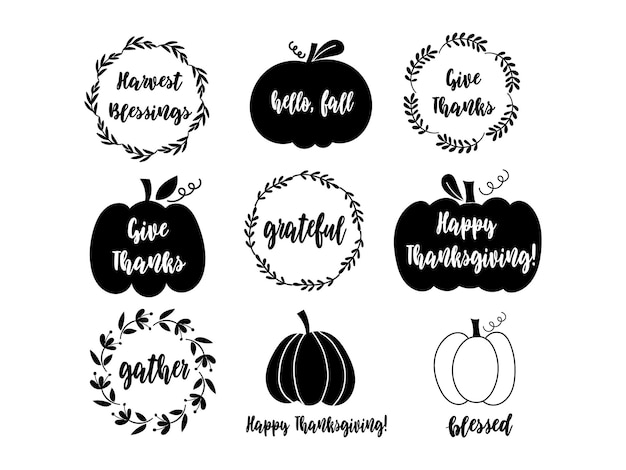 Thanksgiving quotes, pumpkins and wreaths. vector illustration.