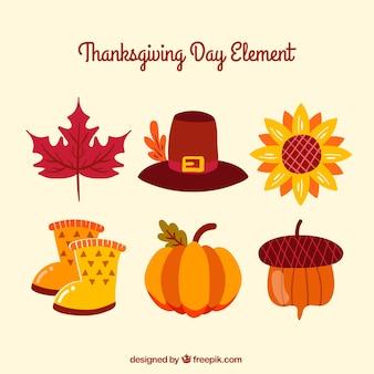 Thanksgiving retro elements set