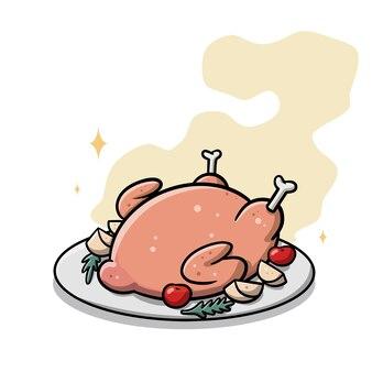 プレート漫画の感謝祭のローストチキン