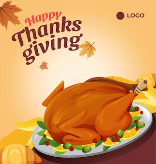 Thanksgiving roasted turkey and autumn leaves social media post template