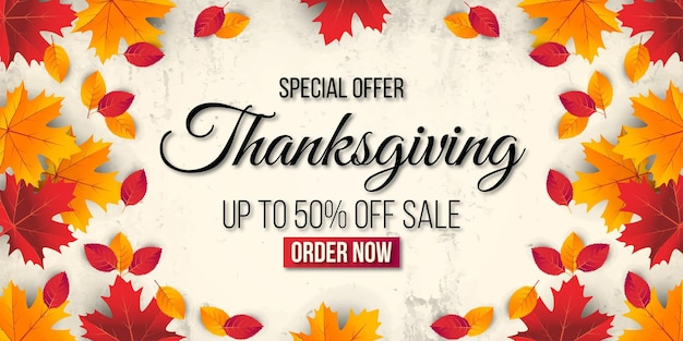 Thanksgiving sale banner background with leaf. special offer up to 50%.premium vector