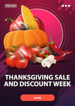 Thanksgiving sale and discount week, pink vertical discount web banner with autumn harvest