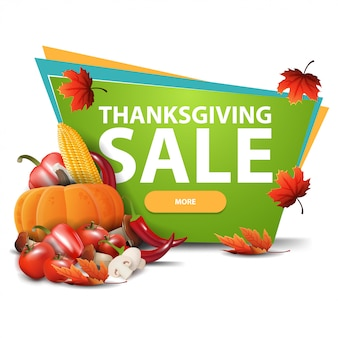 Thanksgiving sale, green banner with autumn harvest