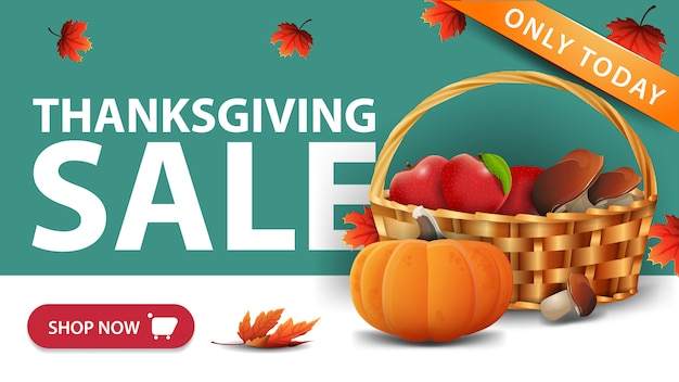Thanksgiving sale, green discount web banner with button, fruit and vegetable basket