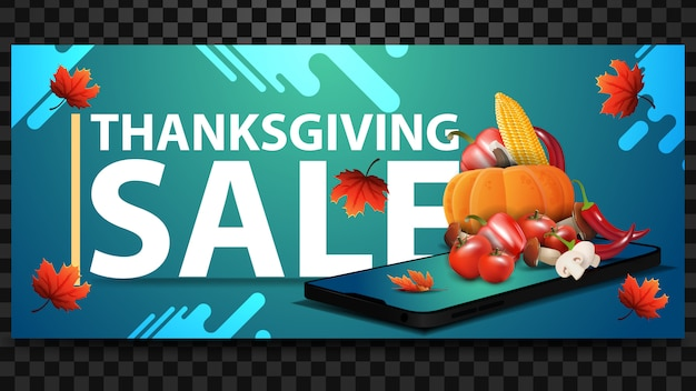 Thanksgiving sale, green discount web banner with large letters