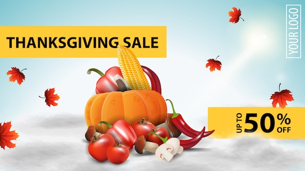 Thanksgiving sale, horizontal web banner with autumn harvest in clouds