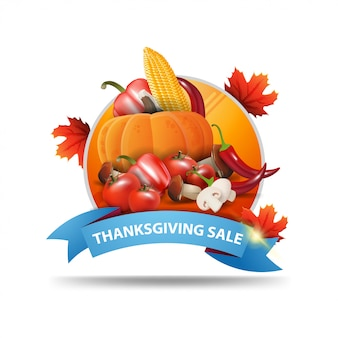 Thanksgiving sale, round web banner with ribbon and autumn harvest.