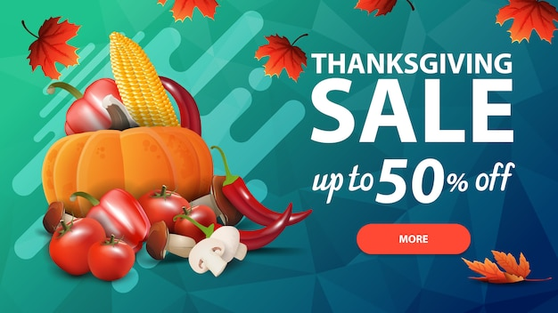 Thanksgiving sale, up to 50% off, green discount web banner with polygon texture and autumn harvest