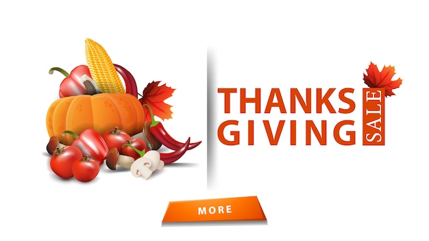Thanksgiving sale, up to 50% off, modern white design of a discount banner for your site
