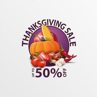 Thanksgiving sale, up to 50% off, round web banner with autumn harvest.