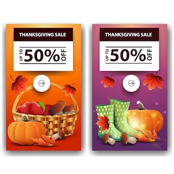 Thanksgiving sale, up to 50% off, two vertical discount banners. orange and print discount thanksgiving template