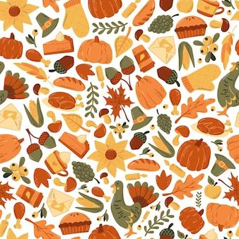 落書きで感謝祭のシームレスなパターン