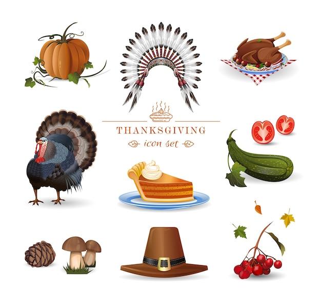 感謝祭セット。秋の休日のコレクション。感謝祭のお祝いのイラスト
