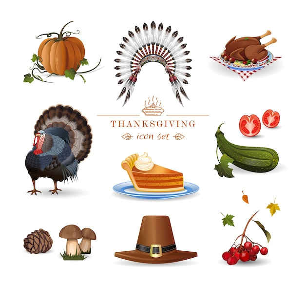 Thanksgiving set. autumn holiday collection. illustration for thanksgiving celebration