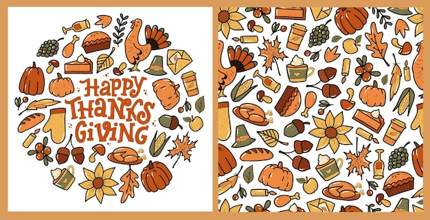 Набор шаблонов и открыток с рисунками на день благодарения