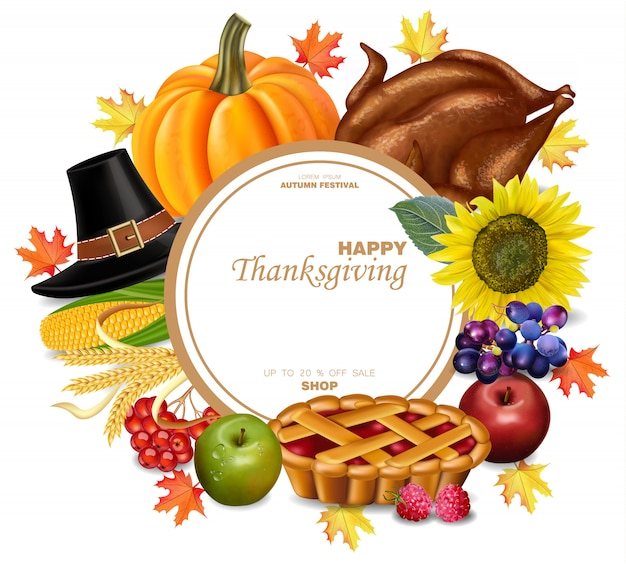 Thanksgiving set with turkey and autumn harvest
