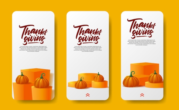 Thanksgiving social media stories 3d realistic pumpkin vegetable with autumn fall maple leaves on the podium stage product display