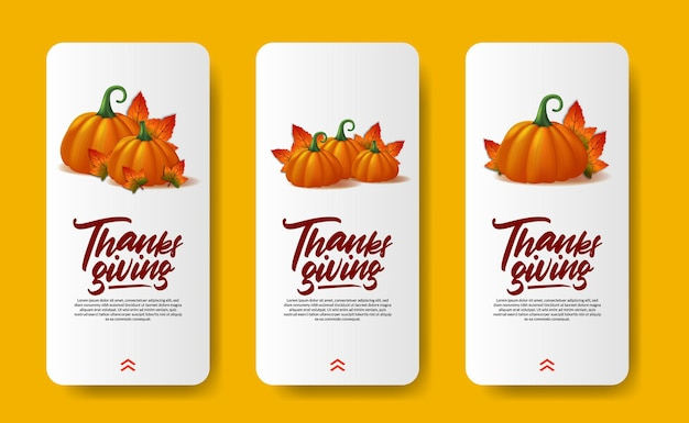 Thanksgiving social media stories 3d realistic pumpkin vegetable with autumn fall maple leaves