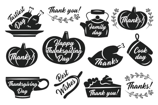 추수 감사절 스티커 레이블 가을 11 월 휴일 터키 호박 컵 주전자 파이 오븐 장갑 허브 레터링 검은 실루엣