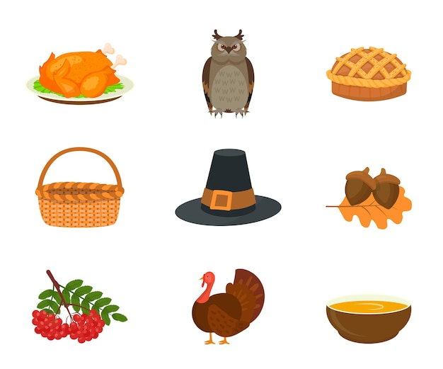Thanksgiving symbols flat illustrations set, fried turkey, owl and pie. traditional fall season, autumn holiday attributes, wicker basket and pilgrim hat, poultry, viburnum berries and acorn