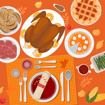 感謝祭のテーブルセッティング。トルコ、パイ、ジャガイモ、プレート、カトラリー、ナプキン、グラス、カボチャ、果物、装飾品。紅葉とベリー。上面図