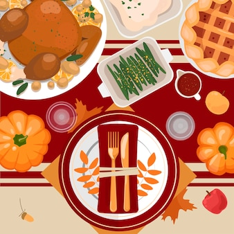 Thanksgiving table setting. turkey, pies, potatoes, plates, cutlery, napkins, glasses, pumpkins, fruits and decor. autumn leaves and berries.   top view