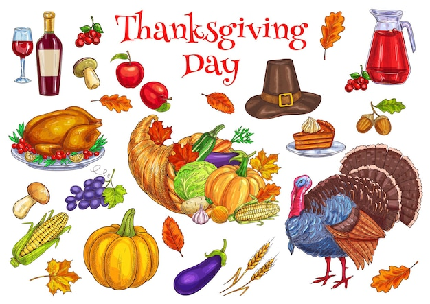 Thanksgiving traditional celebration. turkey, cornucopia food horn, pilgrim hat, pumpkin, pie, vegetables harvest, corn, apple