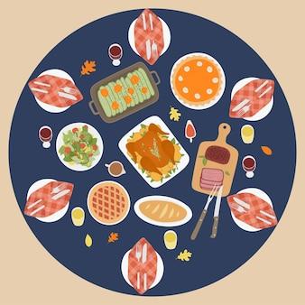 ローストターキーパンプキンパイラウンドテーブル上面図と感謝祭の伝統的なディナーの背景