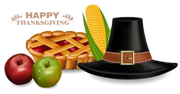 추수 감사절 전통 모자와 파이