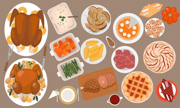 Thanksgiving traditional treat icons set with roasted turkey, ham, sweet potato, corn, side dishes, cakes, cookies.  top view.