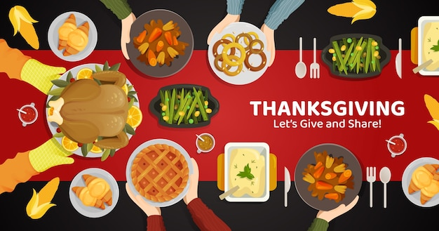 Thanksgiving turkey and another dishes and delicious menu from top of table view illustration