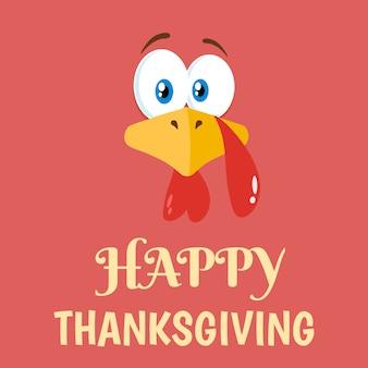 Thanksgiving turkey cartoon character flat design
