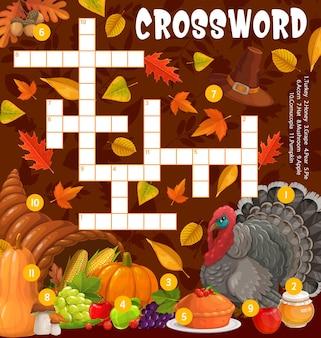 Thanksgiving turkey, cornucopia crossword puzzle