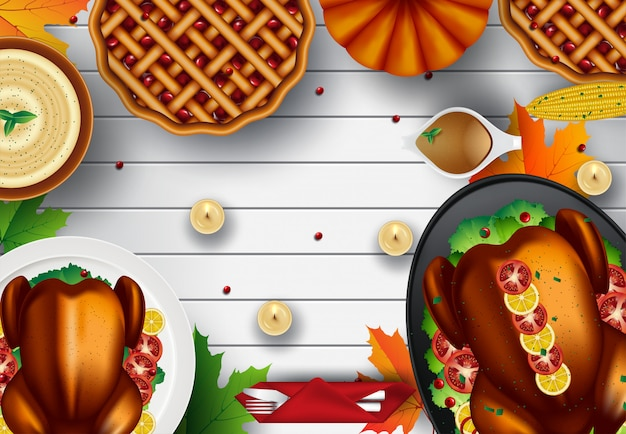Thanksgiving turkey dinner on white wooden table with copyspace