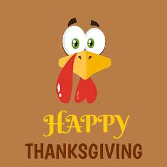 Thanksgiving turkey face cartoon character flat label