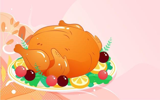 Иллюстрация еды индейки на день благодарения теплый ужин плакат вкусных блюд