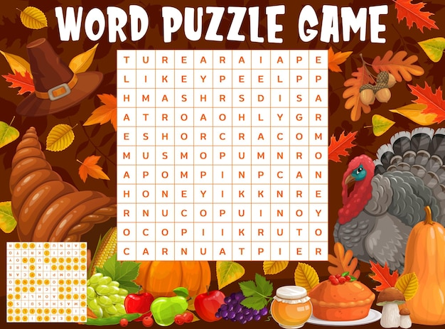 Thanksgiving turkey, harvest and autumnal leaves, word search puzzle, vector game worksheet. kids quiz grid to find words of thanksgiving pumpkin and cornucopia, acorns and maple leaf with apple pie