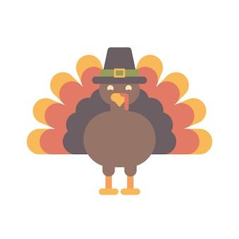 Thanksgiving turkey in a hat flat illustration