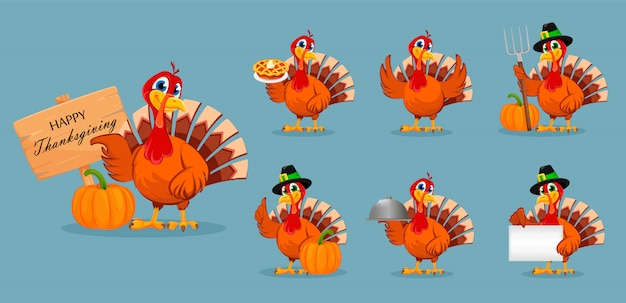 Thanksgiving turkey, set of seven poses