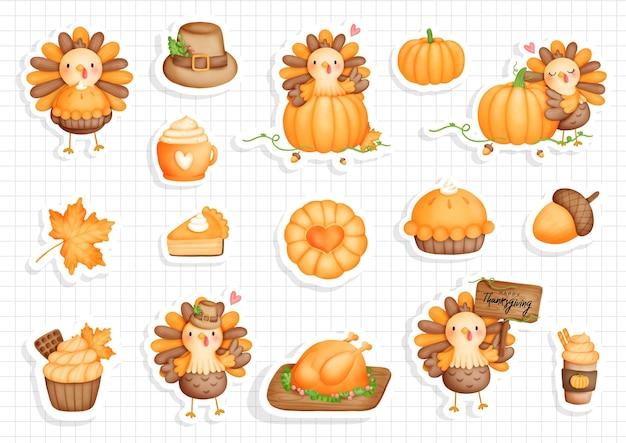 Thanksgiving turkey sticker pumpkin with cute turkey planner and scrapbook