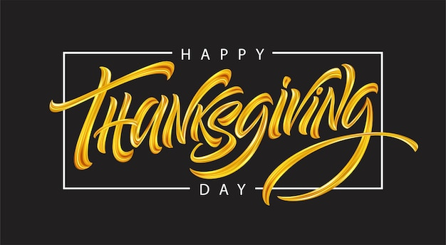 Thanksgiving typography for greeting cards and poster. golden calligraphy lettering. vector illustration eps10