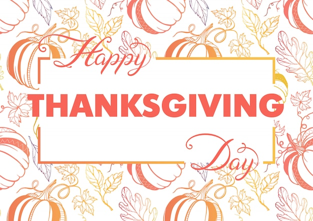 Thanksgiving typography.hand drawn lettering with stylized pumpkins and leaves in fall colors.thanksgiving design perfect for prints,flyers, banners, invitations, special offer and more.