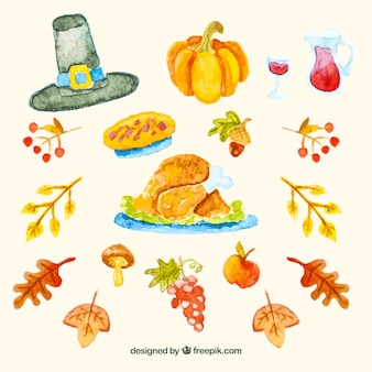 Thanksgiving watercolor elements pack