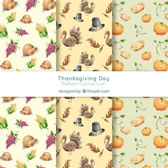 Thanksgiving watercolor patterns set